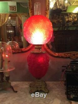 Bradley Hubbard Electrified Oil Lamp Victorian Antique Red Satin Banquet