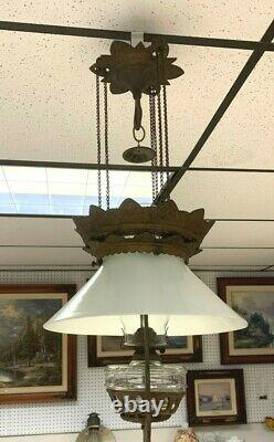 Bradley Hubbard Hanging Light Antique Oil Font Chimney