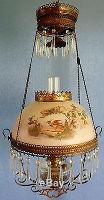 Bradley & Hubbard Roadrunner Bird Floral & Brass Retractable Oil Hanging Lamp