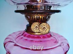 British Victorian Oil Lamp Corinthian Stem Duplex Burner Cranberry Ruffle Shade