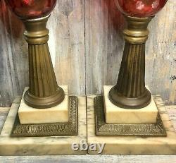 C. 1860 Boston & Sandwich Glass Ruby Cut to Clear 14 Fluid Whale Oil Lamp Set
