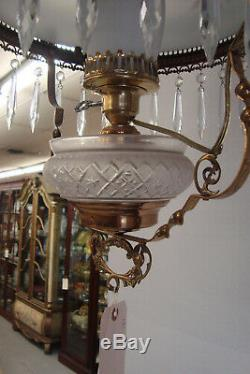 COL- LO Antique Victorian Oil Lamp with Hand Painted Shade Light Fixture