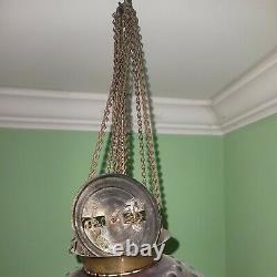 Ca. 1910 Antique VICTORIAN CRANBERRY HOBNAIL Hanging OIL LAMP Chandelier COMPLETE