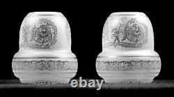 Clear Acid Etched Cupids Griffins Gas Kerosene Oil Lamp Shades Globes Pair (2)