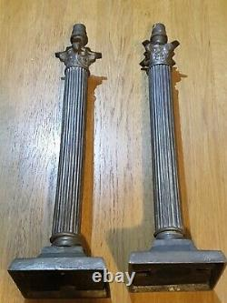 Corinthian column table oil lamp 1 matching pair brass with silver plate