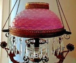 Cranberry Pink Cased Hobnail opalescent Victorian Glass Hanging Oil Lamp Shade