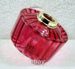 Cranberry Pink Internally Ribbed Spill Lip Kerosene Oil Lamp Font Fount