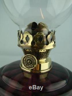 Decorative Victorian Oil Lamp Cast Base Art Nouveau Design & Amethyst Glass Font