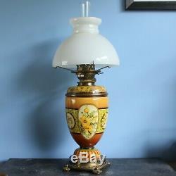 Doulton Lambeth Stoneware Faience Oil Lamp Matilda S Adams circa 1885
