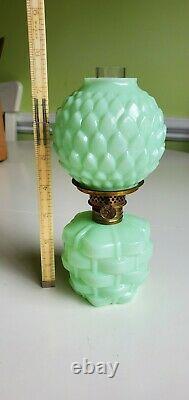 EAPG Victorian Miniature Basketweave Pattern Jadeite Green Opaque Oil Lamp