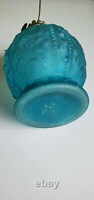 EAPG Victorian Miniature Wild Iris Pattern Glass Frosted Blue Oil Lamp