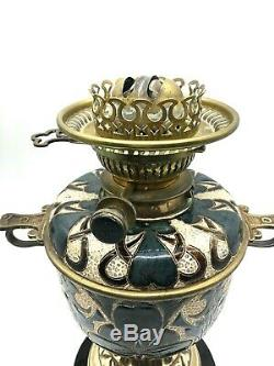 EDITH LUPTON FOR DOULTON LAMBETH stoneware oil lamp 1882