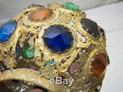 Early Victorian Brass Jeweled Kerosene Oil Parlor Banquet Fluid Lamp Ball Shade
