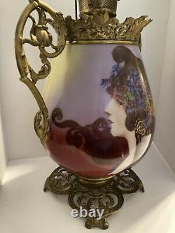 Exquisite Rare Large Victorian Portrait Hand Painted Glass Oil Lamp