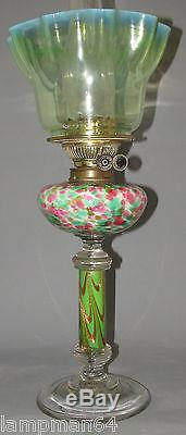 FABULOUS MULTI COLOUR ALL GLASS DUPLEX OIL LAMP WITH GREEN VASELINE SHADE