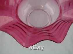 Fabulous 20th Century Cranberry Glass Wide Rimmed Duplex Oil Lamp Tulip Shade