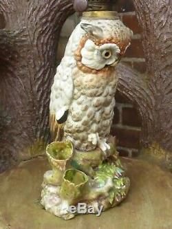 Fabulous Antique Large Dresden Owl Oil Lamp