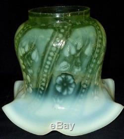 Fabulous Original Complete Victorian Vaseline Glass Duplex Oil Lamp