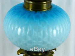 Fabulous Rare Blue Airtrap Mop Cased Glass Duplex Oil Lamp