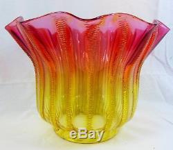 Fabulous Stevens & Williams Airtrap Amberina Duplex Oil Lamp Shade Art Glass