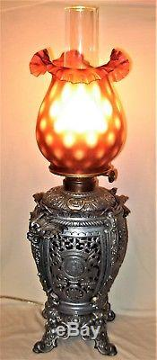 Fantastic Antique Figural Cast Metal Converted Oil Lamp by Edward Miller & Co