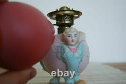 Figural Porcelain Cherub Blue Angel Miniature Oil Pink Glass Victorian Old Lamp