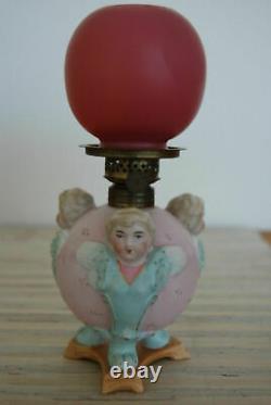 Figural Porcelain Cherub Blue Angel Miniature Oil Pink Glass Victorian Old Lamp