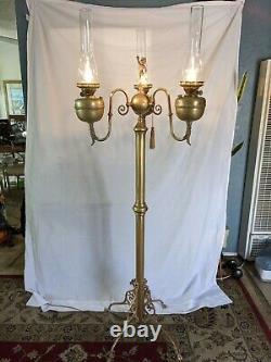 Floor Lamp Victorian Duplex England Brass Oil Lamp antique electrified