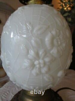 Fostoria Vintage Spider Web Milk Glass Cast Iron Base Converted Antique Oil Lamp