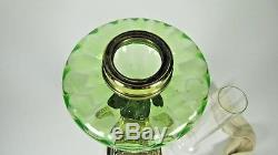 French Antique Green Uranium Oil Lamp Victorian Parlor Kerosine Table Light