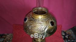 French Late 19th Century Oil Lamp with Glass Facet Shade Inserts