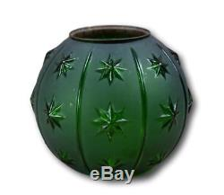 French Victorian Green Frosted Glass Stars Oil Lamp Shade