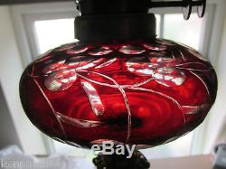 Gorgeous Victorian Bohemian Ruby Overlay Cut Glass Duplex