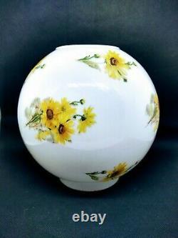 Glass Ball Globe Shade GWTW Hurricane Oil Electric Lamp Shade Daisy Flowers