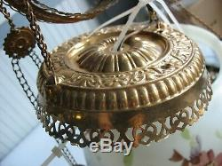 Glass Brass Victorian Hanging Oil Lamp w floral shade Converted to Electric