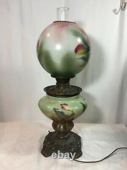 Gone With The Wind GWTW ANTIQUE OIL BANQUET PARLOR Lamp Converted Bottom Light