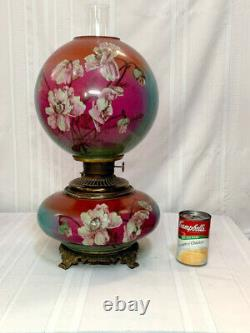 Gone With The Wind Oil Lamp, Floral Ball And Font, Very Early, Original, Nice