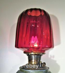 Gorgeous Victorian 1880's Winged Cherub Oil Lamp with Cranberry Swirl Shade