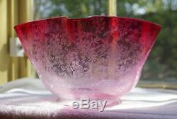 Graduated Clear To Cranberry Pink Finely Etched Kerosene Oil Lamp Shade Globe