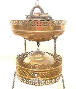 Great Antique Victorian Brass Hanging Oil Lamp Frame
