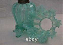H 393 V Rare Victorian Art Glass Miniature Oil Lamp 7 1/2H X FINE MINT