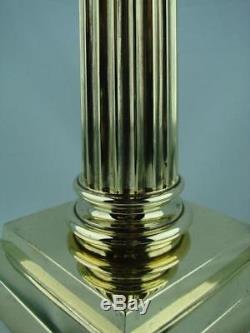 HEAVY TALL BRASS CORINTHIAN COLUMN OIL LAMP BASE STEPPED SQUARE BASE by ABBOTT