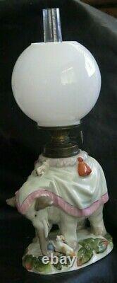 HII 228 Porcelain Figural 3 Owls Antique Victorian Miniature OIL Lamp As Is