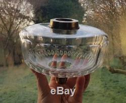 HUGE 190mm 19cm Victorian Screw collar HEAVY Cut Glass Crystal Oil Lamp Font A1