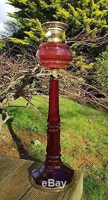 HUGE Antique Victorian Ruby Cranberry Facet Cut Glass 69cm Oil Lamp Base Column