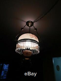 Hand Painted 1800s Victorian Oil Lamp Style Brass Chandelier Poppy Theme