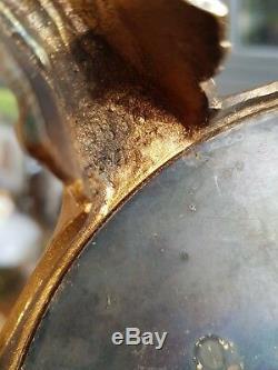Heavy Original Victorian Cast metal gilded ornate 3 armcolumn oil lamp base 23mm