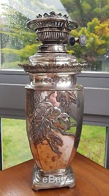 High Victorian Japanese Birds Geisha Girl Silver Plated Messengers Oil Lamp 15