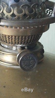 Hinks Antique Brass extending standard oil lamp Victorian parafin Duplex burner