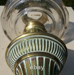 Hinks Ceramic & Brass Base, Faceted Font and Duplex Burner Oil Lamp WH Honey
